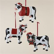 Pack of 12 Cows with Santa Hats Christmas Ornaments